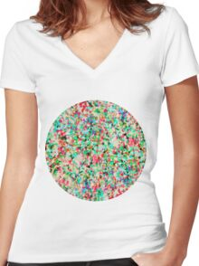 Informel Art Abstract Women's Fitted V-Neck T-Shirt