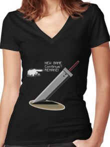 Final Fantasy 7: Finally the promise has been made. Women's Fitted V-Neck T-Shirt
