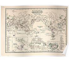 Atlas zu Alex V Humbolt's Cosmos 1851 0151 Volcanic Map of the World Poster