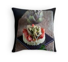 Smoked Salmon and Artichokes with Basil, Pinenut and Lemon Sauce Throw Pillow