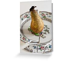 Pear on Plate Greeting Card