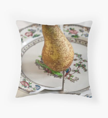 Pear on Plate Throw Pillow