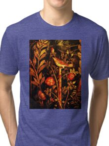 POMPEII COLLECTION NIGHTINGALE WITH RED ROSES Tri-blend T-Shirt