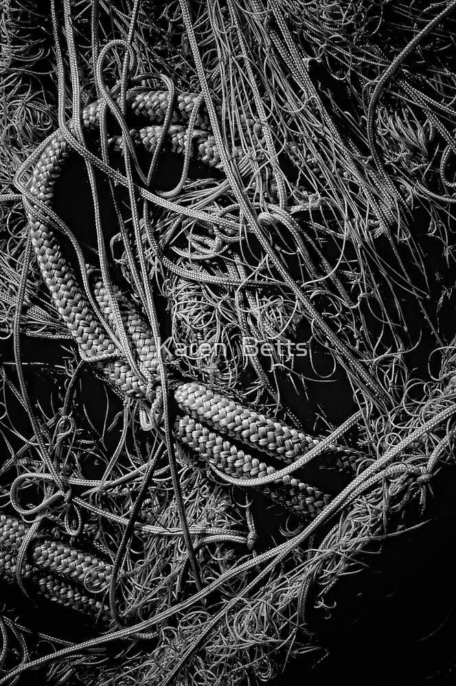 Tangled Nets in B&W by Karen  Betts