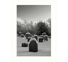 Churchyard in snow Art Print