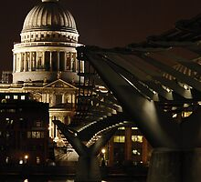 Night shot of St Pauls Cathedral and the Millenium Bridge by John Gaffen