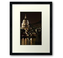 Night shot of St Pauls Cathedral and the Millenium Bridge Framed Print