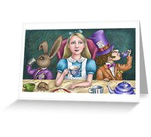 alice with the mad hatter and march hare Greeting Card