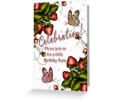 60th Birthday Party - Butterfly And Strawberry Invitation  Greeting Card