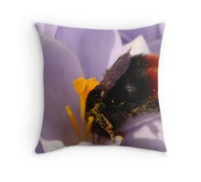 Bumble Bee on Crocus Macro close-up Throw Pillow
