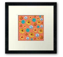 Summery Flowers on Cadmium Orange Background Framed Print