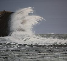 Lulworth Cove on a Wild and Windy Day by Annie Lovelass