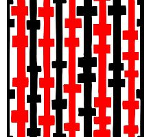 Abstract Columns - Red and Black Photographic Print
