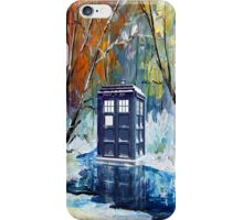Winter British Blue phone box painting iPhone Case/Skin