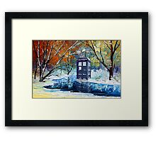 Winter British Blue phone box painting Framed Print