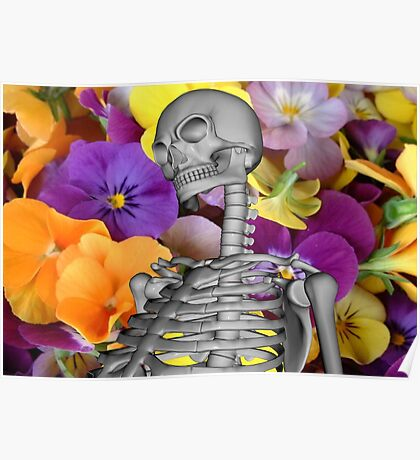Skeleton  with Flowers Poster
