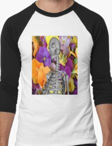 Skeleton  with Flowers Men's Baseball ¾ T-Shirt