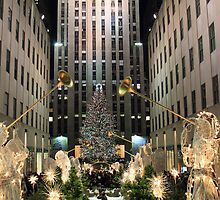 Christmas angels herald the Rockefeller tree by John Banks