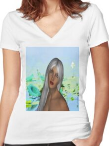 Lily Pond Women's Fitted V-Neck T-Shirt