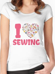 I love SEWING Women's Fitted Scoop T-Shirt