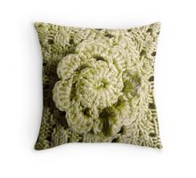 Green Crochet Flower Throw Pillow
