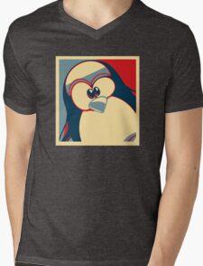 Linux Tux Obama poster red blue  Mens V-Neck T-Shirt