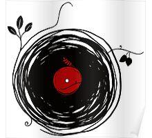 Spinning vinyl, Bird Nest, Grunge Design Poster