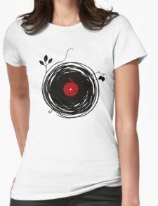Spinning vinyl, Bird Nest, Grunge Design Womens Fitted T-Shirt