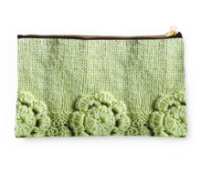 Green Crochet Flower #2 Studio Pouch