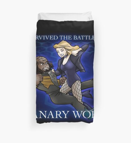 The Battle of Canary Worf Duvet Cover
