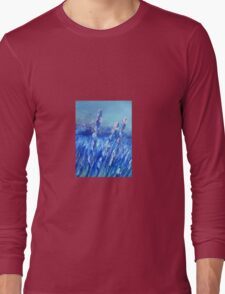 Lavender Field Abstract Long Sleeve T-Shirt