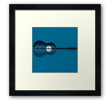 Trees sea and the moon turned guitar Framed Print