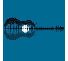 Trees sea and the moon turned guitar Photographic Print