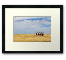 Hay rake - (Farm equipment) Location: Free state, South Africa Framed Print
