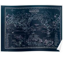 Atlas zu Alex V Humbolt's Cosmos 1851 0151 Volcanic Map of the World Inverted Poster