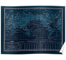 Atlas zu Alex V Humbolt's Cosmos 1851 0158 Map of Ocean Temperatures Inverted Poster