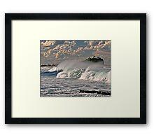 Nobby's Lighthouse, Storm Surf Framed Print