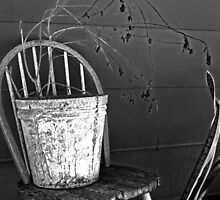 bucket on chair by Lynne Prestebak