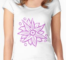 Purple Wood Block Print Flowers Women's Fitted Scoop T-Shirt