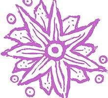 Purple Wood Block Print Flowers by melasdesign
