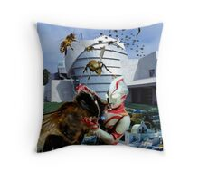 Ultraman vs. the killer bees Throw Pillow