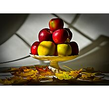 Fruit bowl with autumn leaves - Print Photographic Print