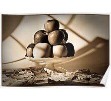 Fruit bowl with autumn leaves in sepia - Print Poster
