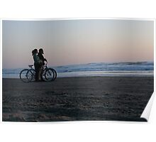 Bikers watching sunset Poster
