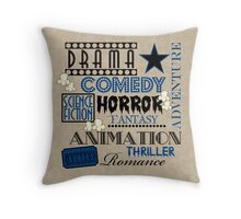 Movie Theater Cinema Movie Genre ticket Pillow-Blue Throw Pillow