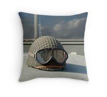 Helmet on World War 2 US Army truck Throw Pillow