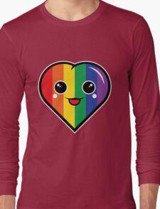 Cute Kawaii Rainbow Heart Long Sleeve T-Shirt