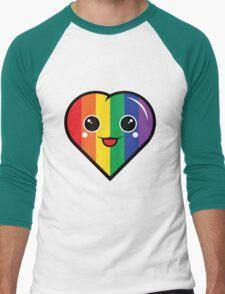 Cute Kawaii Rainbow Heart Men's Baseball ¾ T-Shirt