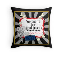 Movie Theater Cinema Camera Popcorn Pillow Throw Pillow