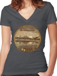 Rustic Colorado is Calling and I Must Go Women's Fitted V-Neck T-Shirt